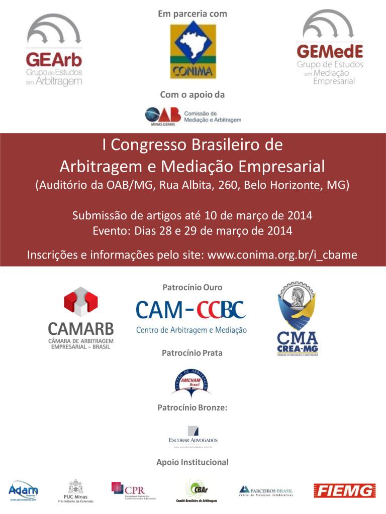 I Congresso Brasileiro de Arbitragem e Mediação Empresarial